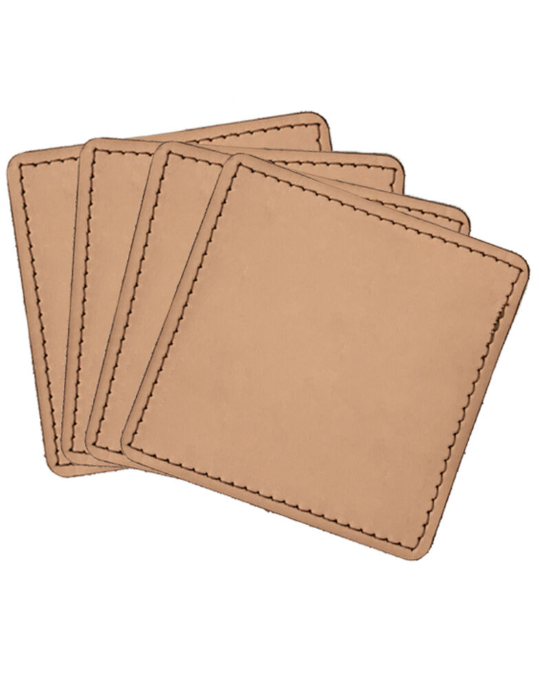 Carroll Co. Square Leather Beverage Coaster - 4 Pack, Tan, hi-res
