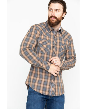 Rock & Roll Cowboy Men's Yarndye Plaid Long Sleeve Western Shirt, Brown, hi-res