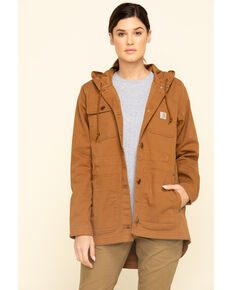 Crahartt Women's Brown Rugged Flex Canvas Coat, Brown, hi-res