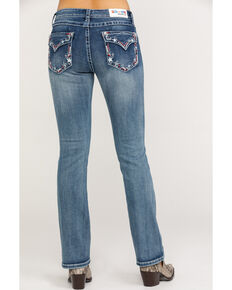 "Grace in LA Women's Medium Stars Easy Bootcut 34"" Jeans , Blue, hi-res"