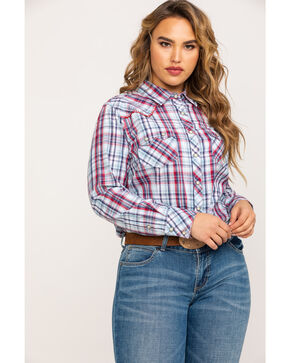 Ariat Women's Blue Plaid Real Vibrant Snap Long Sleeve Western Shirt - Plus, Multi, hi-res