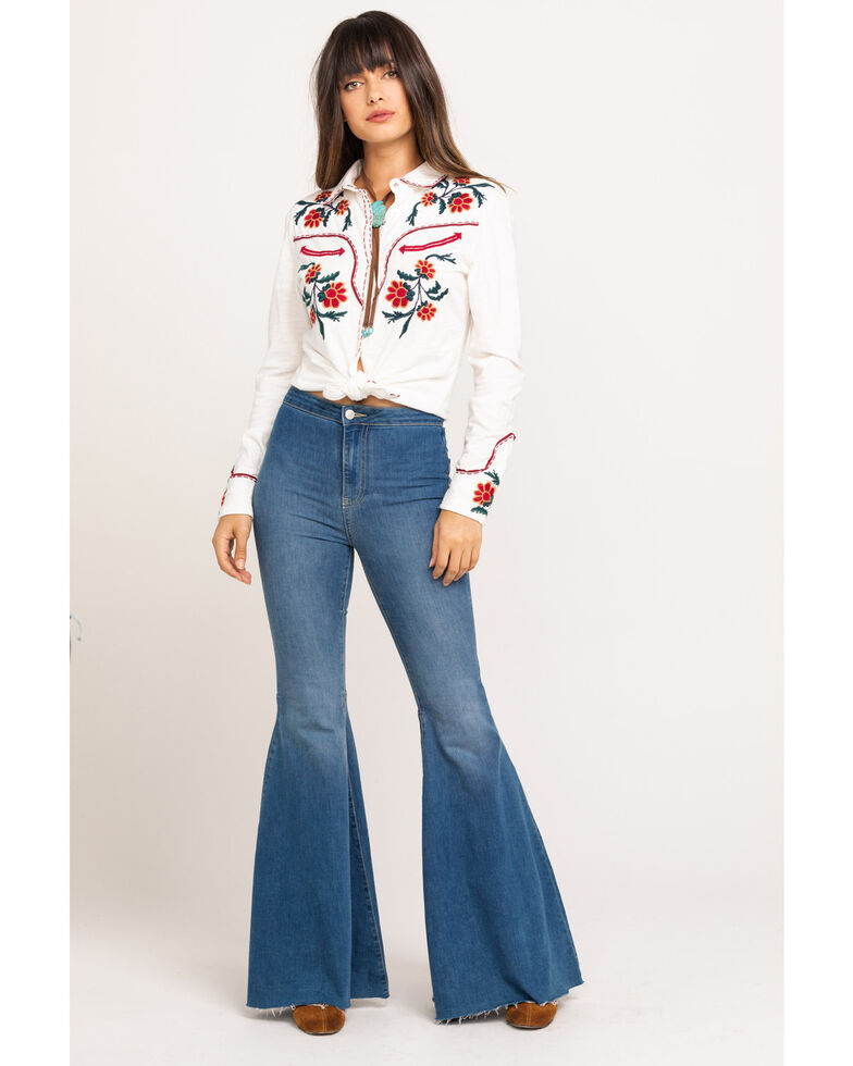 Double D Ranchwear Women's Ranch Rodeo Long Sleeve Western Shirt, White, hi-res