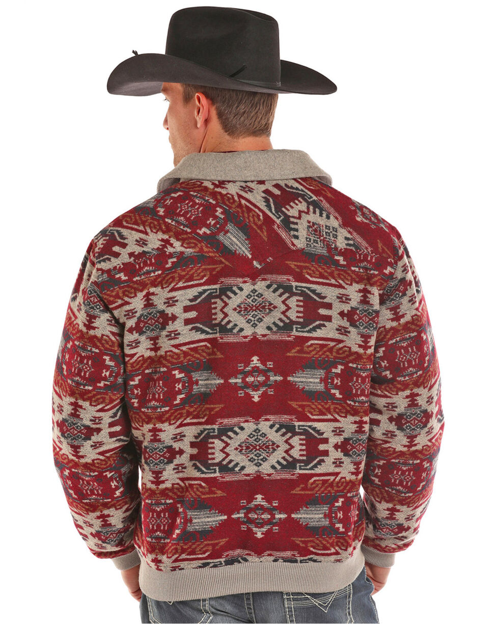 Powder River Outfitters Men's Aztec Wool Jacquard Bomber Jacket, Red, hi-res