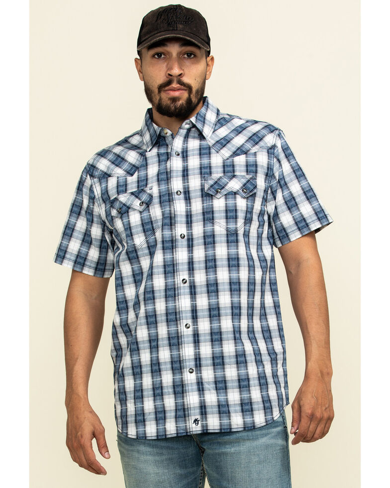 Moonshine Spirit Men's El Jefe Plaid Short Sleeve Western Shirt , White, hi-res