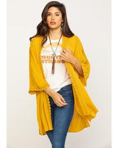 Eyeshadow Women's Mustard Crepe Crochet Kimono, Dark Yellow, hi-res