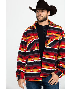 Outback Trading Co. Men's Aztec Fleece Indy Big Shirt Jacket, Red, hi-res