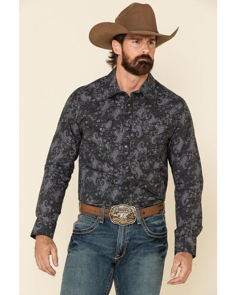Rock & Roll Denim Men's Black Paisley Print Snap Long Sleeve Western Shirt , Black, hi-res