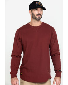 Hawx Men's Red Solid Asphalt Thermal Crew Long Sleeve Work Shirt , Dark Red, hi-res