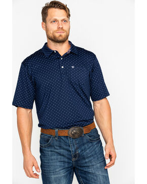 Ariat Men's Navy Spray Print Short Sleeve Polo Shirt , Navy, hi-res