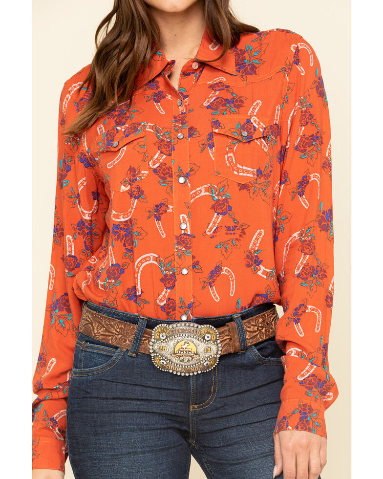 Cruel Girl Women's Rust Horseshoe Rose Print Long Sleeve Western Shirt , Rust Copper, hi-res