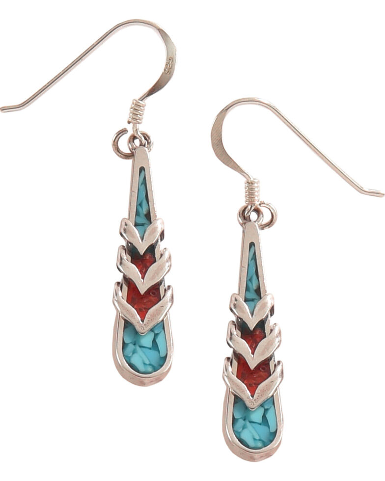 Silver Legends Women S Turquoise And C Feather Dangle Earrings Hi Res
