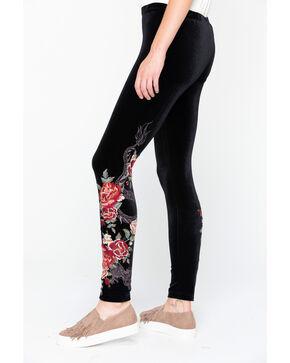 Johnny Was Women's Dragon Velvet Floral Leggings , Black, hi-res