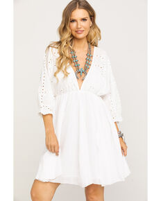 Mystree Women's Eyelet Top Dress, White, hi-res
