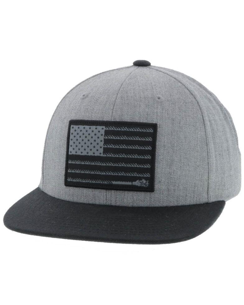 HOOey Men's Grey Liberty Roper Flag Patch Soilid Ball Cap , Grey, hi-res