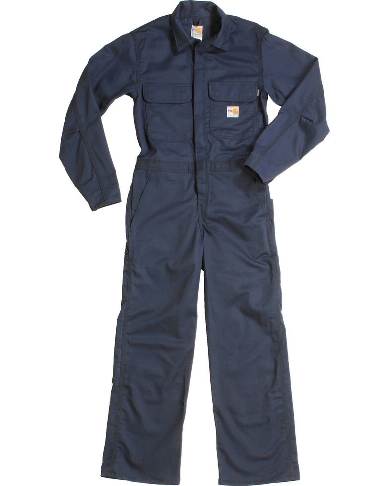 Carhartt Flame Resistant Twill Coveralls, Navy, hi-res