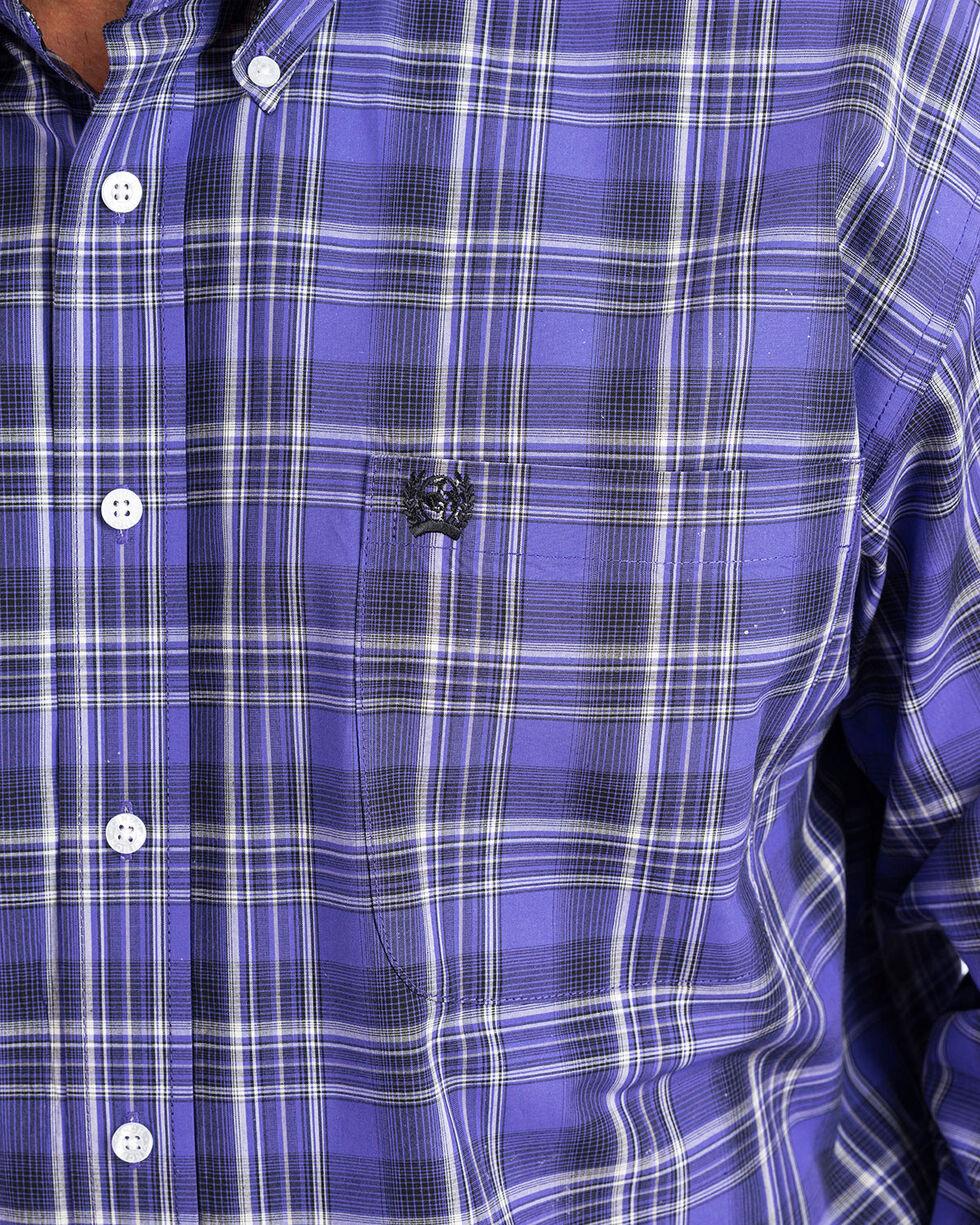 Cinch Men's Purple Plaid Long Sleeve Button Down Shirt, Purple, hi-res