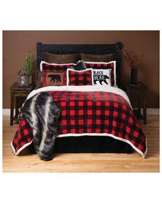 Carstens Home Red Lumberjack Buffalo Plaid 4-Piece Sherpa Fleece Bedding Set - King Size, Red, hi-res