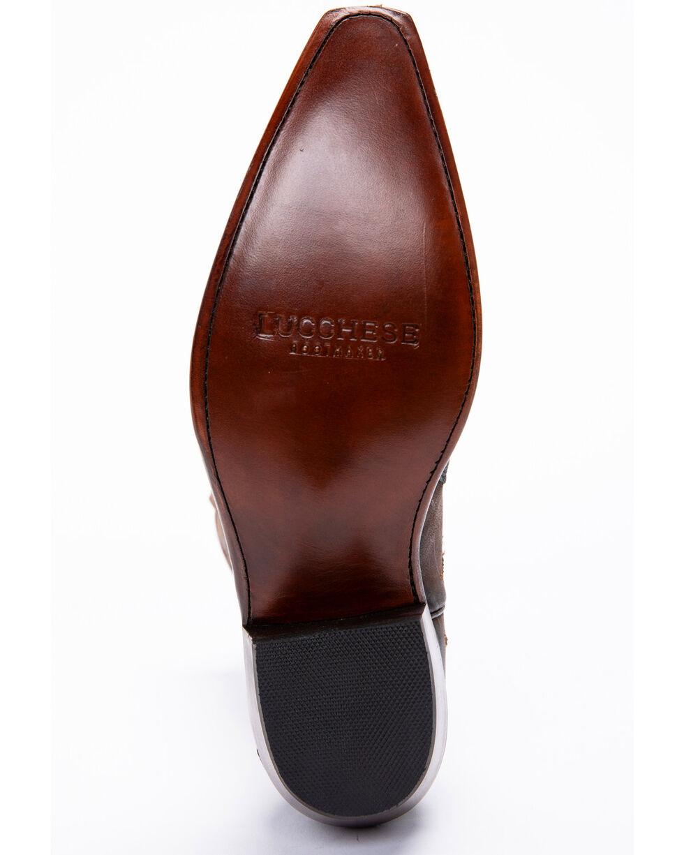 Lucchese Handmade Brown Sasha Lizard Cowgirl Boots - Snip Toe , Dark Brown, hi-res