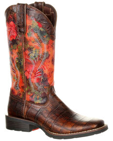 Durango Women's Mustang Faux Gator Western Boots - Square Toe, Multi, hi-res