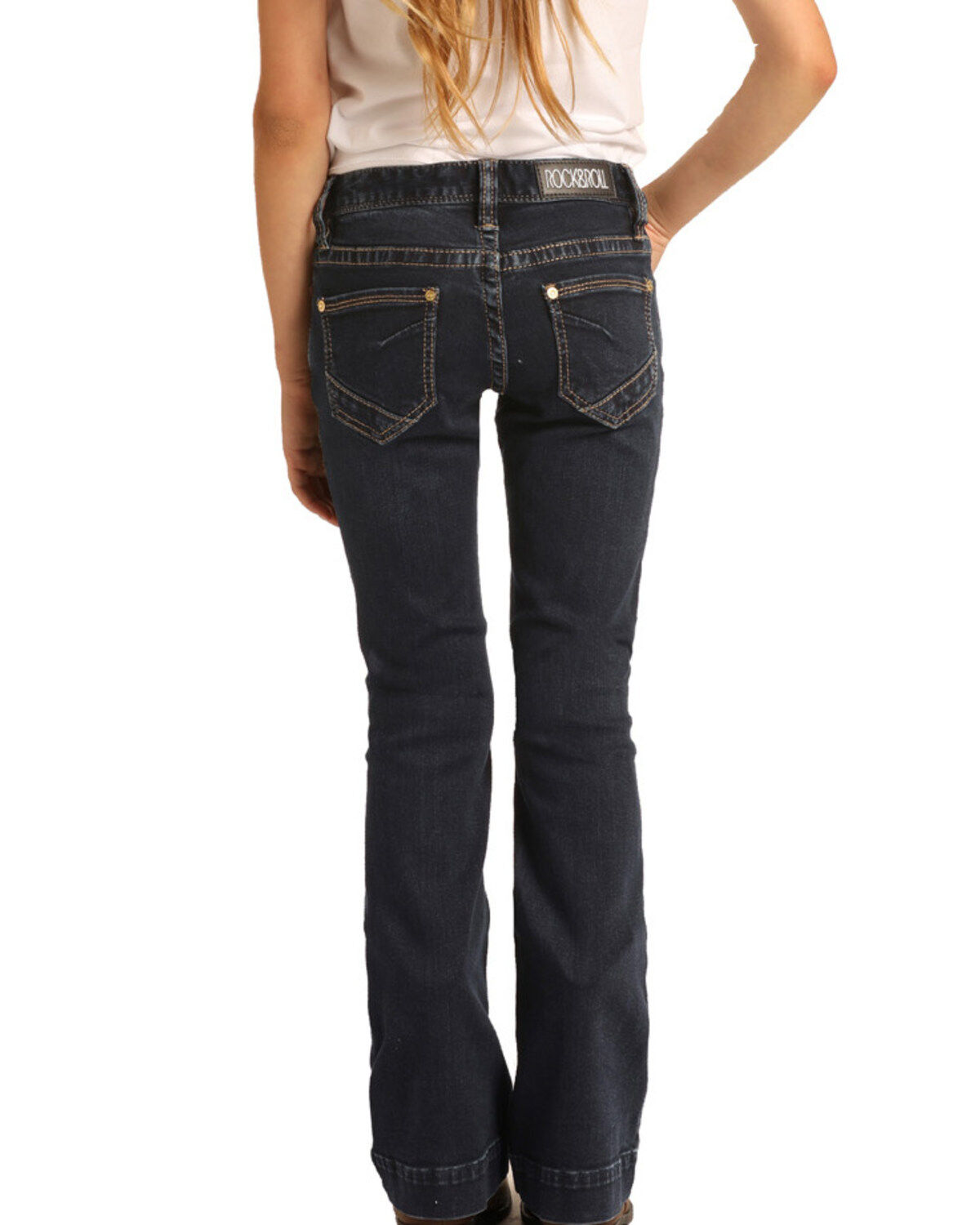 Rock and Roll Cowgirl Girls Boot Cut Jeans Pink Embroidery
