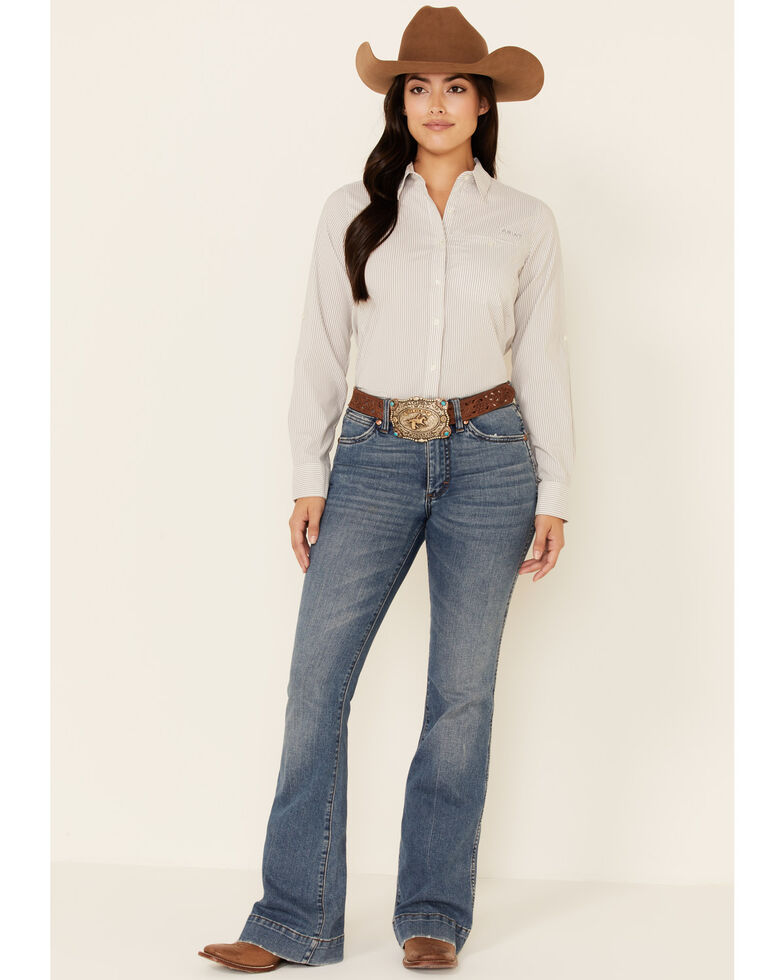 Ariat Women's Stripe AriatTEK Stretch Long Sleeve Button-Down Western Core Shirt , Violet, hi-res