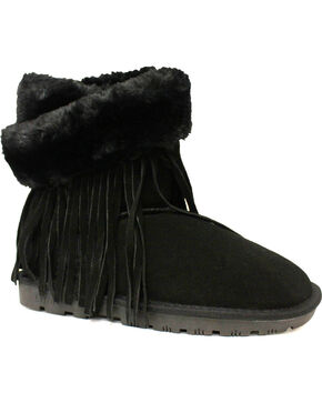 Lamo Footwear Women's Fringe Wrap Boots, Black, hi-res