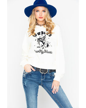 Z Supply Women's Cowboys & Country Music Graphic Long Sleeve Hoodie , Ivory, hi-res
