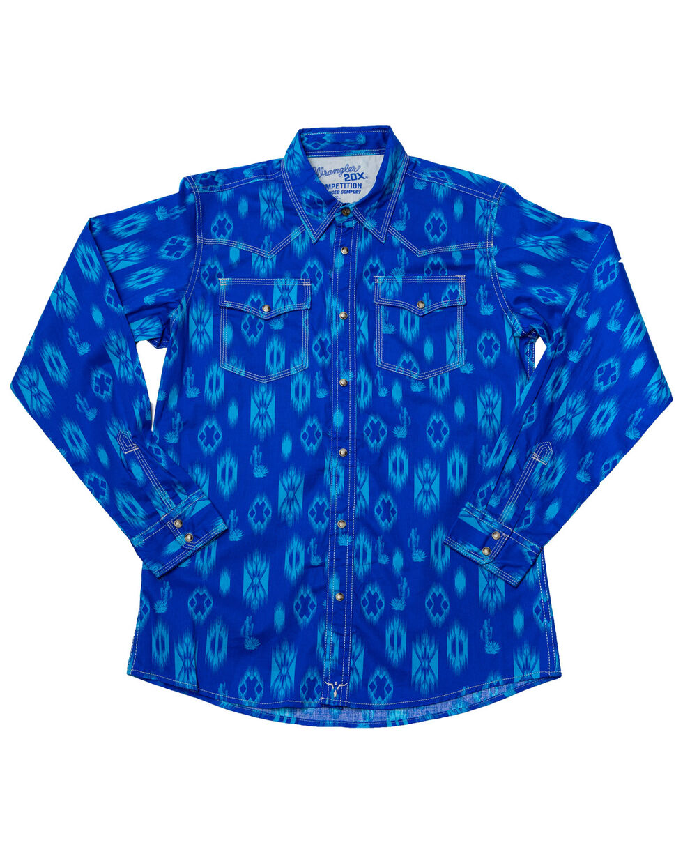Wrangler 20X Boys' Blue Advanced Comfort Aztec Print Shirt , Blue, hi-res