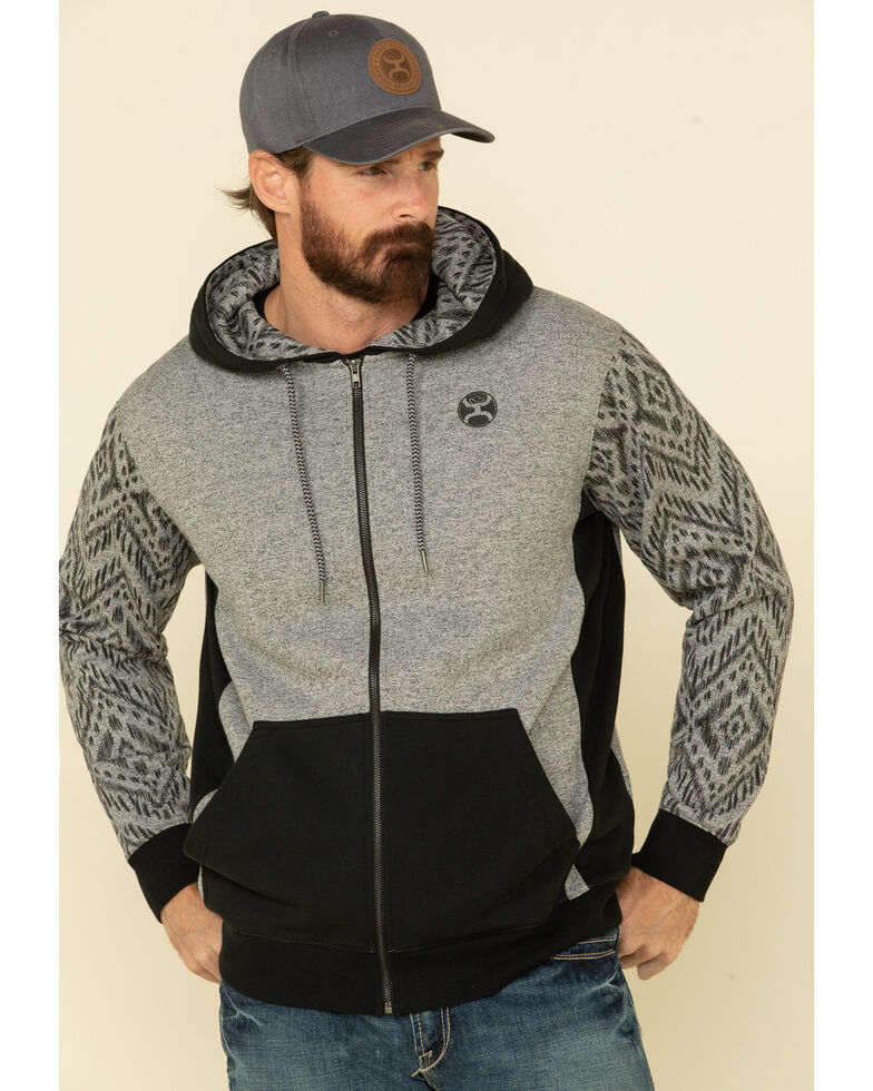 HOOey Men's Grey Aztec Santa Fe Zip-Up Hooded Sweatshirt , Grey, hi-res