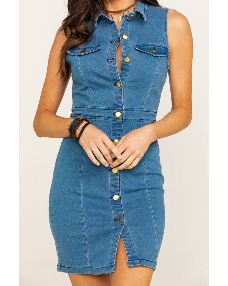 Flying Tomato Women's Denim Button Sleeveless Dress, Blue, hi-res