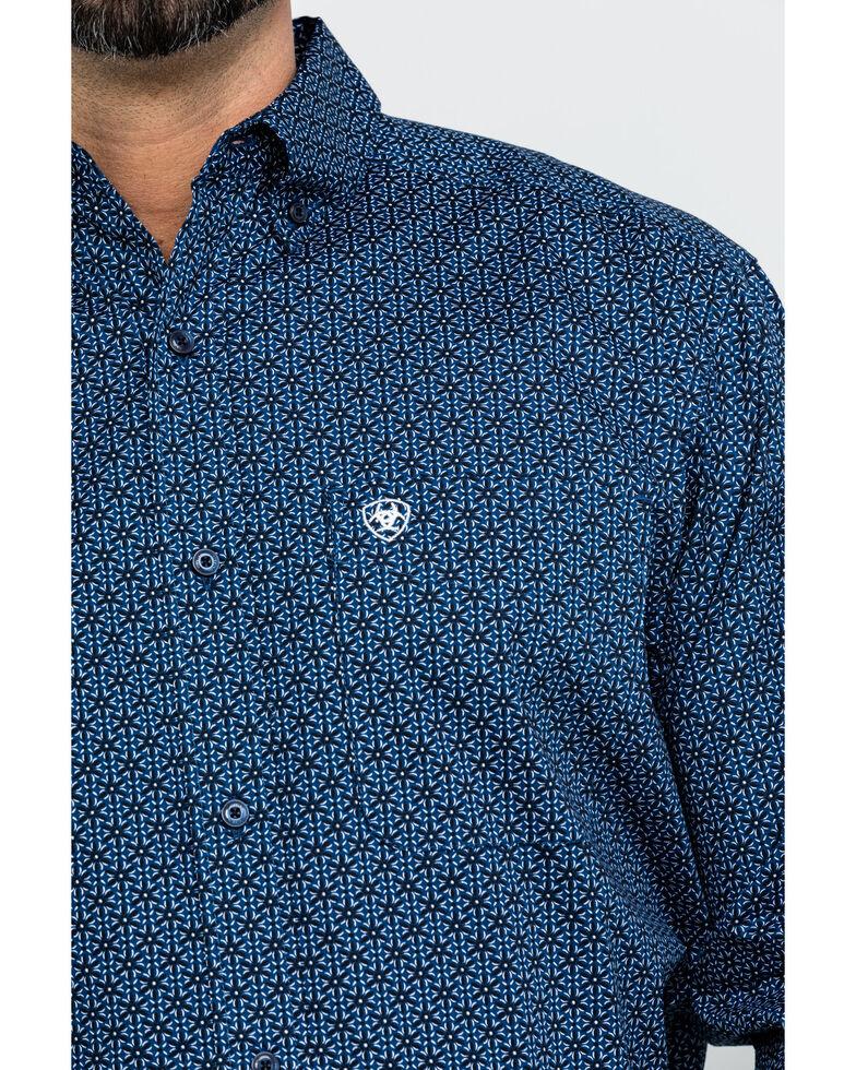 Ariat Men's Damian Stretch Geo Print Long Sleeve Western Shirt , Navy, hi-res