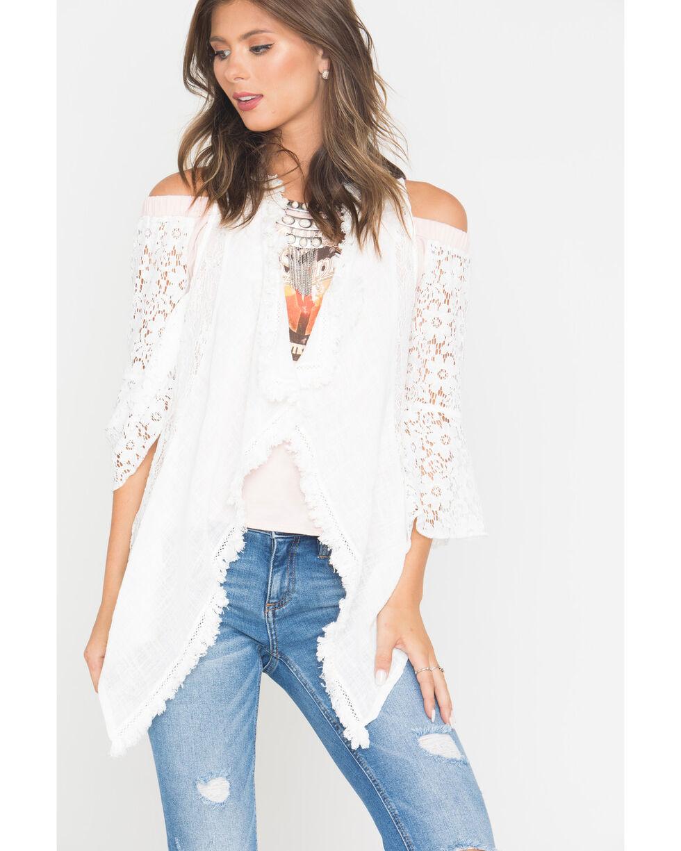 Shyanne Women's Lace Asymmetrical Vest, Ivory, hi-res