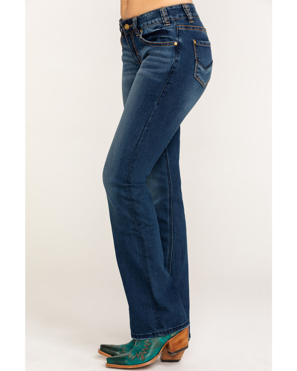 Rock & Roll Cowgirl Women's Mid Rise Extra Stretch Bootcut Jeans, Dark Blue, hi-res