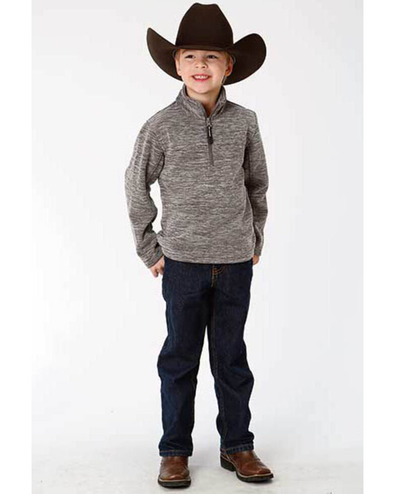 Roper Boys' Grey Bonded Fleece Lightweight Pullover Jacket , Black, hi-res
