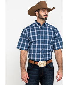 Ariat Men's Lakewood Large Plaid Short Sleeve Western Shirt - Tall , Dark Blue, hi-res