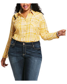 Ariat Women's Yellow Plaid R.E.A.L. Sunrise Desert Snap Long Sleeve Western Shirt - Plus, Gold, hi-res