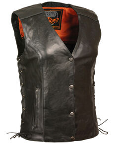 Milwaukee Leather Women's Stud & Wings Leather Vest - 4X, Black, hi-res