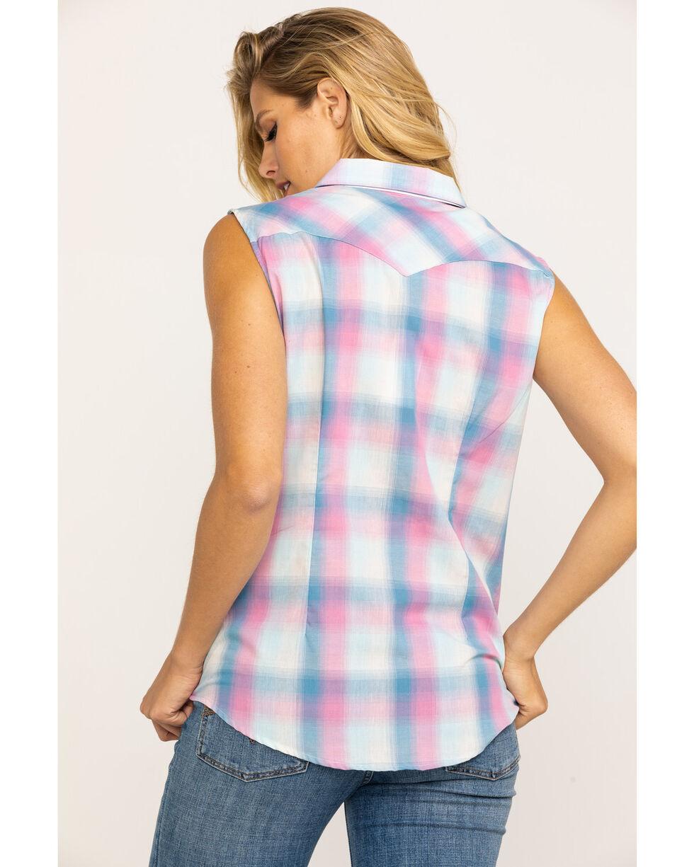 Wrangler Women's Pink & Blue Plaid Western Core Sleeveless Shirt, Pink, hi-res