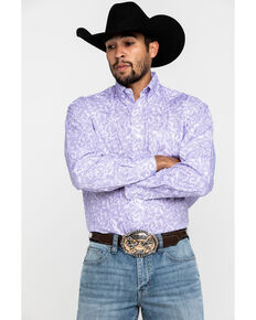 George Strait By Wrangler Men's Purple Paisley Print Long Sleeve Western Shirt , Purple, hi-res