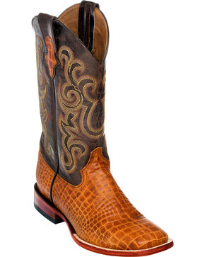 Ferrini Men's Honey Brown Caiman Belly Print Western Boots - Square Toe , Honey, hi-res