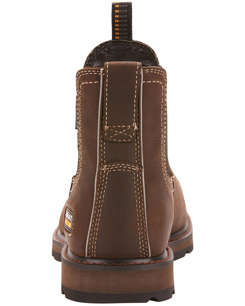 Ariat Men's Groundbreaker Chelsea Waterproof Work Boots - Steel Toe, Dark Brown, hi-res