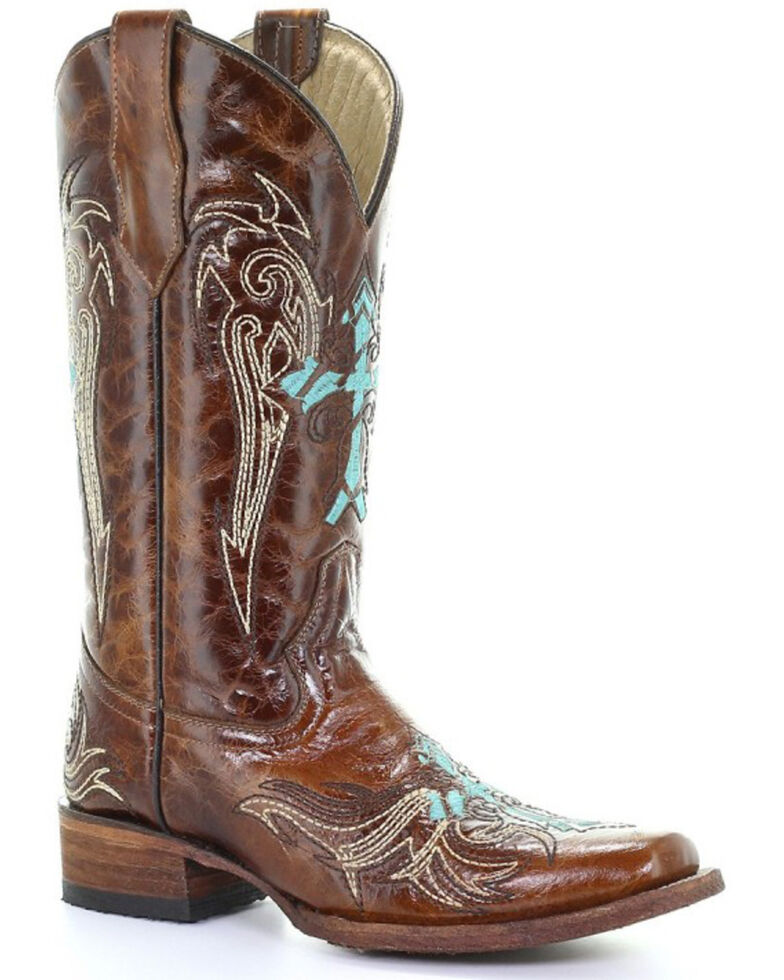 Circle G Women's Honey & Turquoise Cross Western Boots - Square Toe, Honey, hi-res