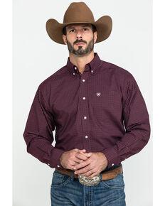 Ariat Men's Fullerton Stretch Med Plaid Long Sleeve Western Shirt , Purple, hi-res