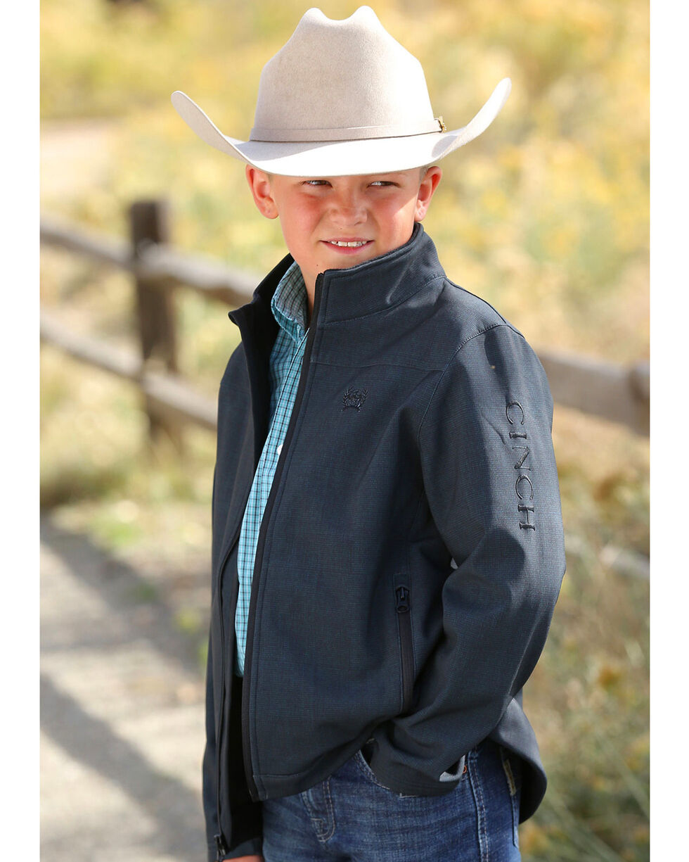 Cinch Boys' Textured Bonded Jacket, Black, hi-res