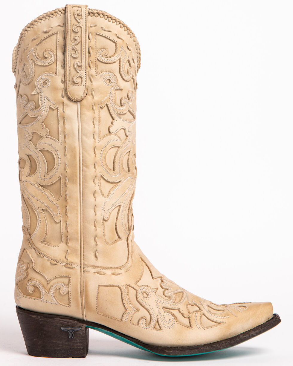 Lane Robin Cowgirl Boots - Snip Toe, Ivory, hi-res