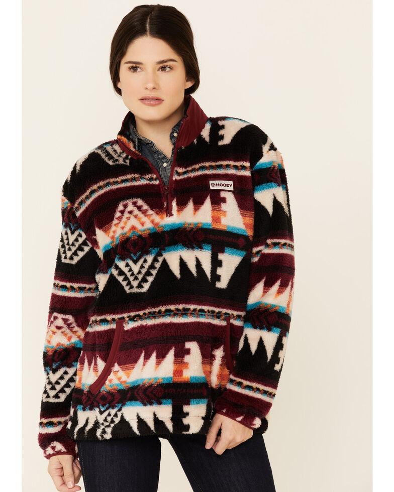 HOOey Women's Grey Aztec Stripe Fleece 1/4 Zip Pullover , Grey, hi-res