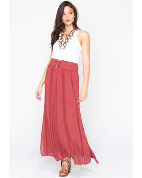 Shyanne Women's Tie-Off Corset Maxi Skirt , Rust Copper, hi-res