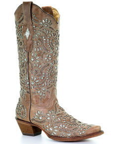 Corral Women's Glitter Inlay Floral Western Boots, Brown, hi-res