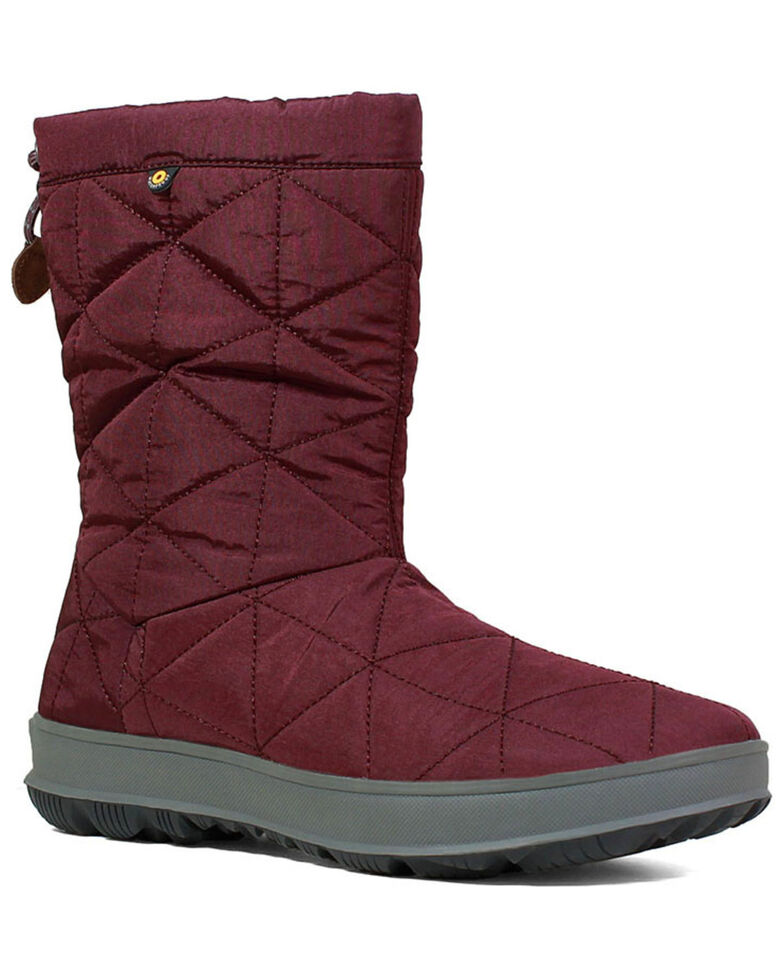 Bogs Women's Snowday Waterproof Winter Boots - Round Toe, Wine, hi-res
