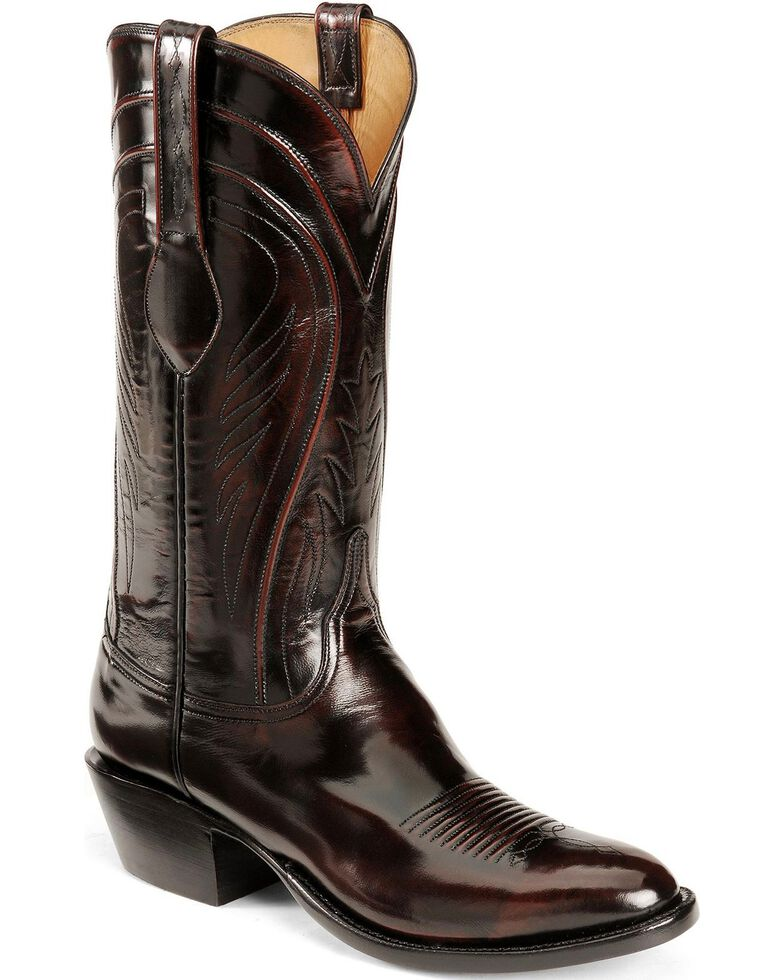 Lucchese Men's Classics Seville Goatskin Boots - Medium Toe, Black Cherry, hi-res